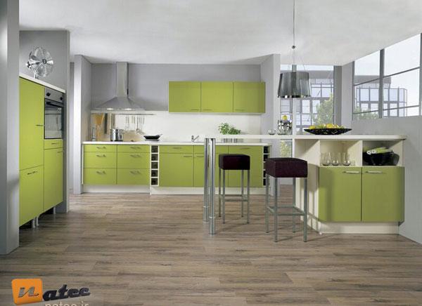 کابینت آشپزخانه های مدرن به رنگ سبز