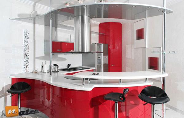 رنگ بندی قرمز در آشپزخانه های معاصر