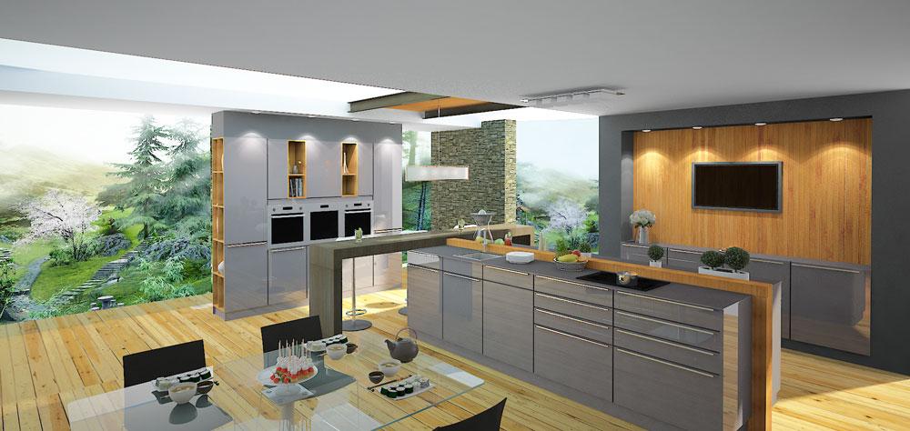 نمونه کار دانشجویی طراحی آشپزخانه VRay