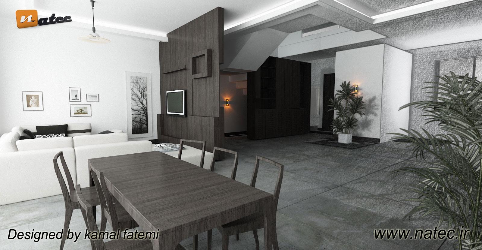 نمونه کار طراحی اتاق نشیمن بصورت مدرن و مینیمال