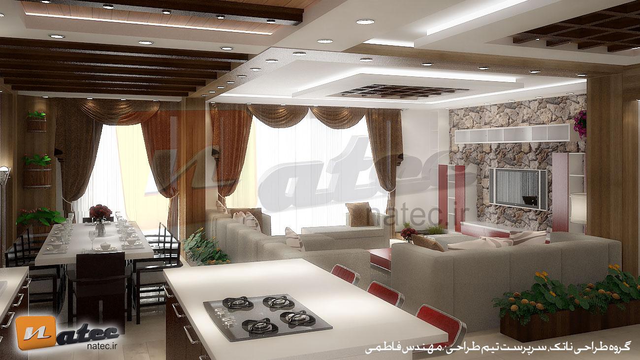 نمونه کار طراحی داخلی منزل از ناتک در اصفهان