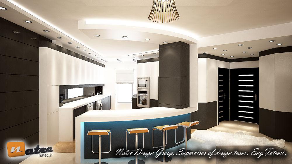 نمونه طراحی آشپزخانه در حال اجرا از گروه ناتک