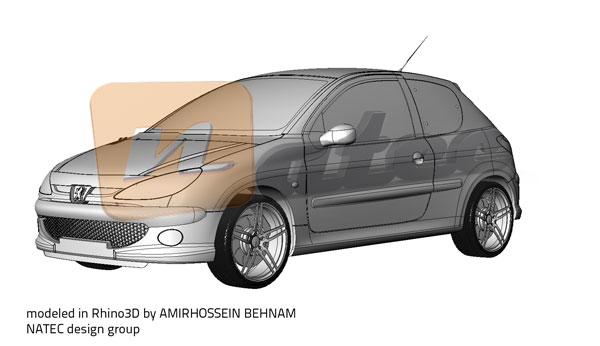 نمونه کار مدلسازی خودرو پژو 206