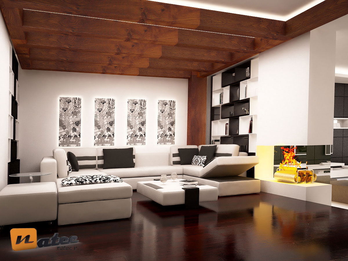 نمونه کار طراحی نشیمن به سبک رستیک ، مینیمال